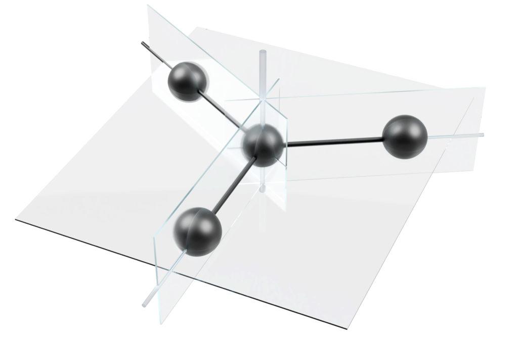 Angedeutete Symmetrieelemente eines Moleküls der Punktgruppe D_3h.